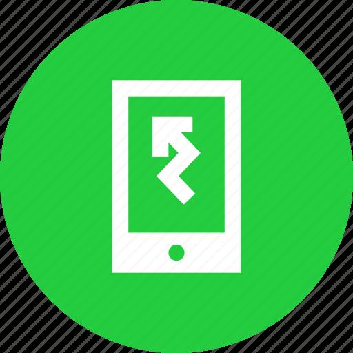 alert, arrow, data, mobile, notification, smartphone, statistics icon