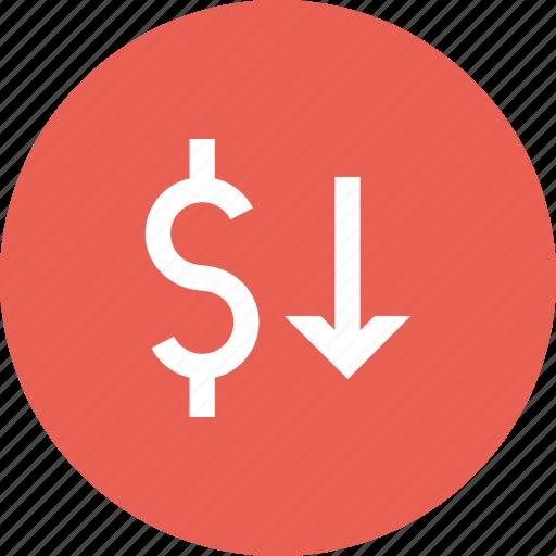 decline, decrease, dollar, exchange, rate, shares, value icon
