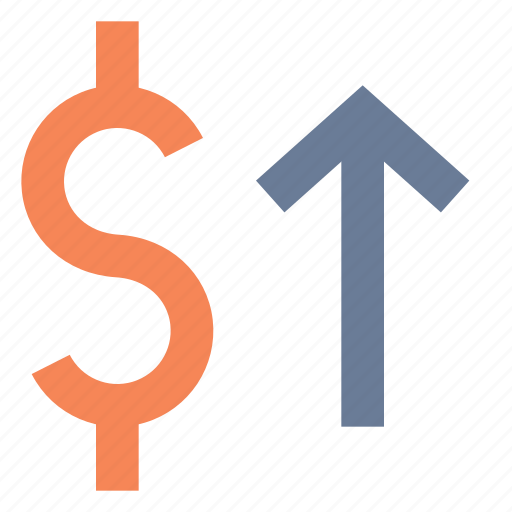 dollar, exchange, increase, raise, rate, shares, value icon