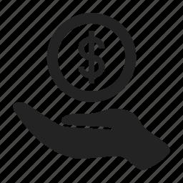 charity, hand, money icon