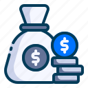 accounting, banking, business, coins, dollar, finance, money bag icon