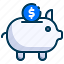accounting, banking, business, dollar, finance, piggy bank, savings icon