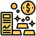 bank, business, finance, gold, ingot icon