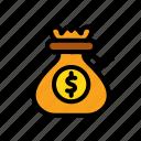coin, credit, finance, financial, sack, treasure icon
