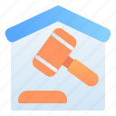 accounting, auction, banking, business, court, finance, mortgage icon
