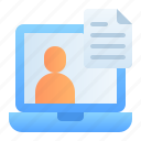 laptop, customer data, accounting, information profile, banking, business, finance icon