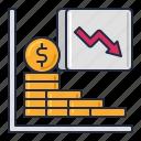 depreciation, reduction, value icon
