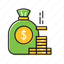 coins, dollars, money, money bag coins icon