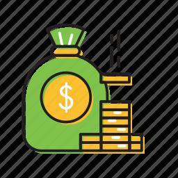 coins, dollars, money, money bag coins icon