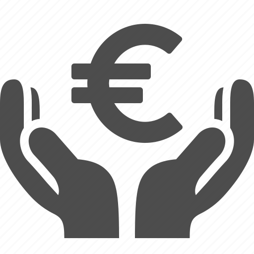 euro, hand, hands, loan icon