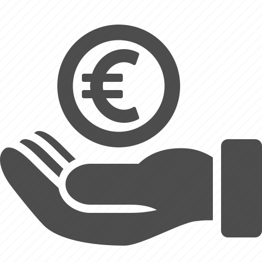 business, coin, currency, euro, hand, loan, money icon