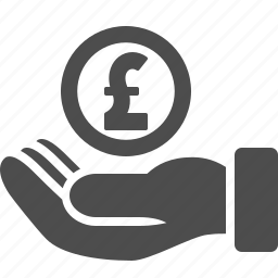coin, currency, finance, hand, loan, money, pound icon