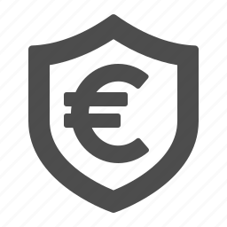 currency, euro, finance, insurance, money, security, shield icon
