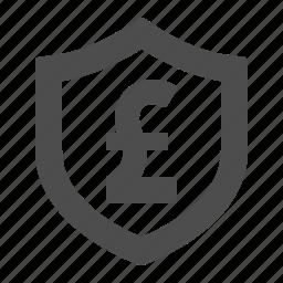 british, gbp, money, pound, security, shield icon
