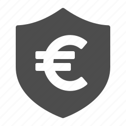 euro, security, shield icon