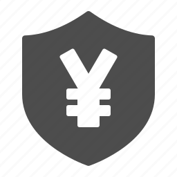 currency, insurance, security, shield, yen, yuan icon