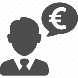 banker, businessman, chat bubble, currency, euro, finance, money icon