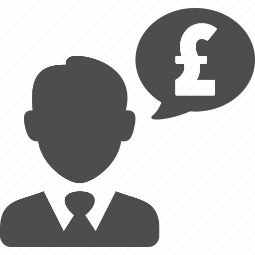 businessman, currency, finance, gbp, money, pound, speech bubble icon