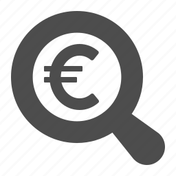 currency, euro, finance, magnifying glass, money icon