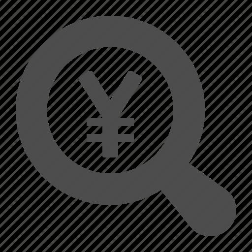 magnifying glass, yen, yuan icon