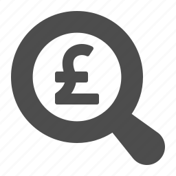 gbp, magnifying glass, pound icon