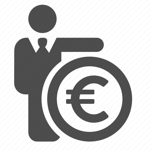 businessman, coin, currency, euro, loan, money icon