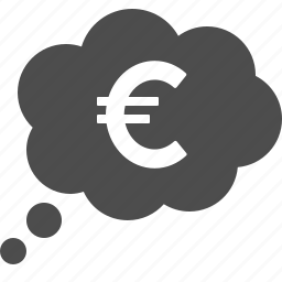 currency, euro, finance, money, think, thought, thought bubble icon