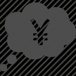 thought bubble, yen, yuan icon