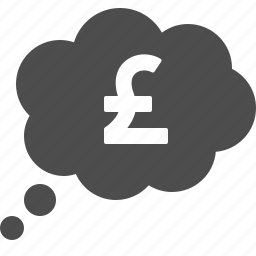 currency, finance, money, pound, thought bubble icon