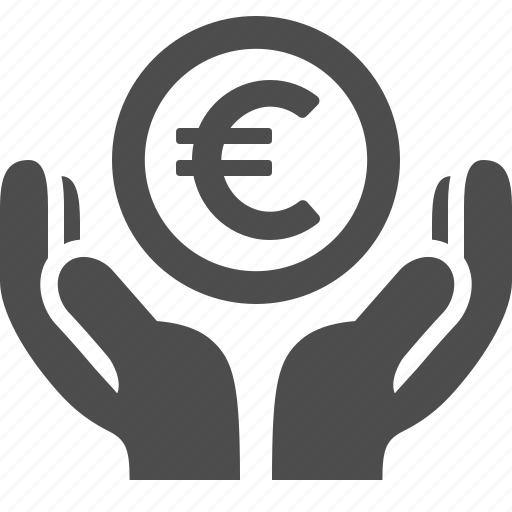 coin, currency, euro, finance, hands, loan, money icon