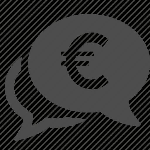 currency, euro, finance, money, speech bubble icon