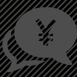 bubble, chat, currency, financial, speech, yen, yuan icon