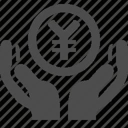 coin, hands, security, yen, yuan icon