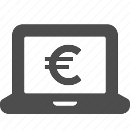 currency, euro, laptop, money icon