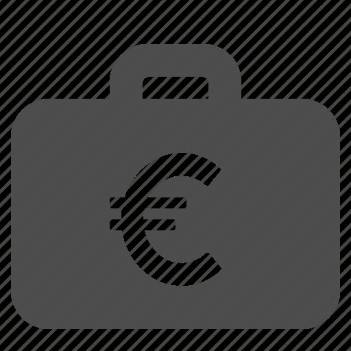 briefcase, cash, euro, finance, money, suitcase icon