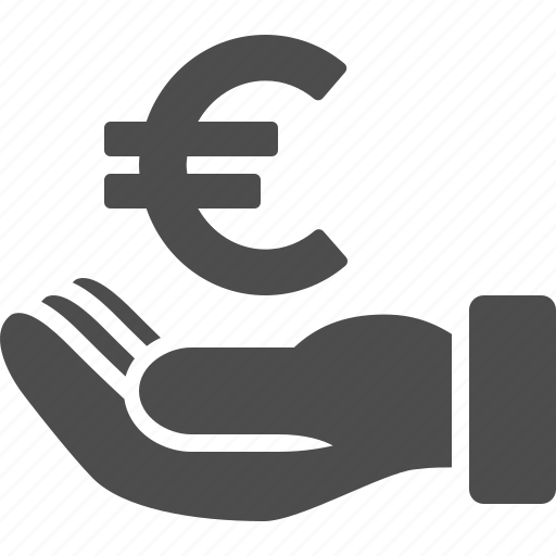 business, currency, euro, finance, hand, loan, money icon