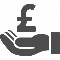 currency, finance, hand, loan, money, pound icon