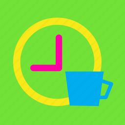 alarm, clock, coffee, drink, tea time, time, work icon