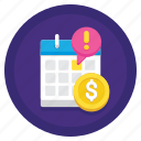 fee, finance, late, money icon