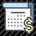 calendar, schedule, date, plan, dollar, money, payment