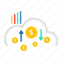 cash, cloud, coin, hand, income, investment, payment icon