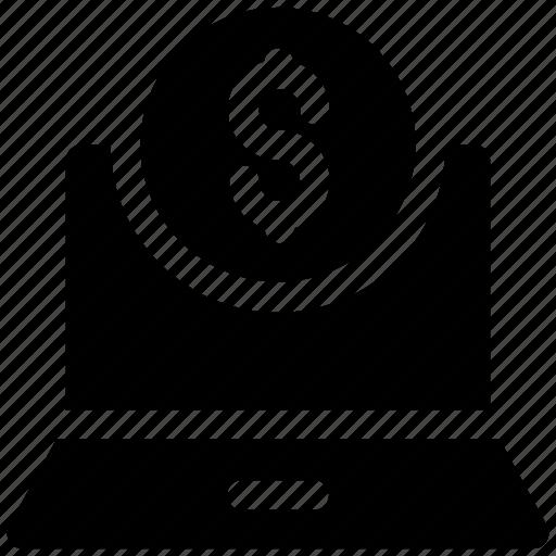 cost, dollar, laptop icon icon