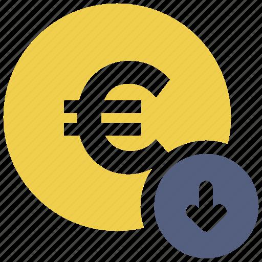 coin, down arrow, euro icon icon