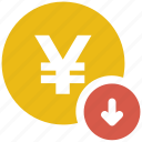coin, down arrow, yen icon icon