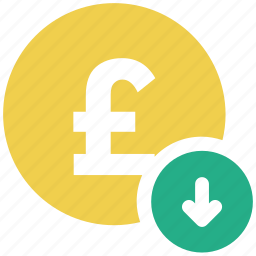 coin, down arrow, pound, sterling icon icon
