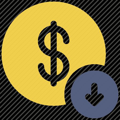 coin, dollar, down arrow, sign icon icon