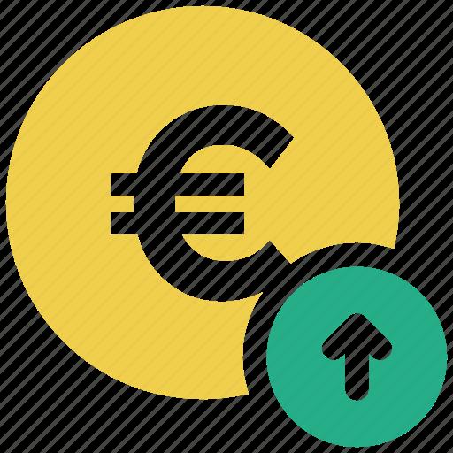 arrow up, euro, euro coin icon