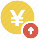 arrow up, yen, yen coin icon