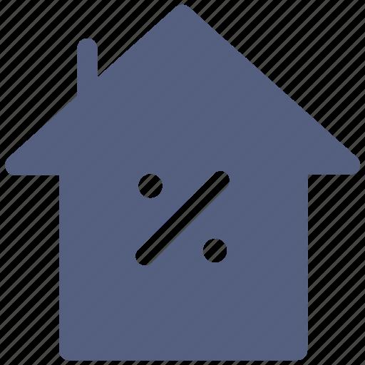 home, house, percent icon icon