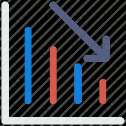 analytics, arrow, chart, down, graph, report, statistics icon icon